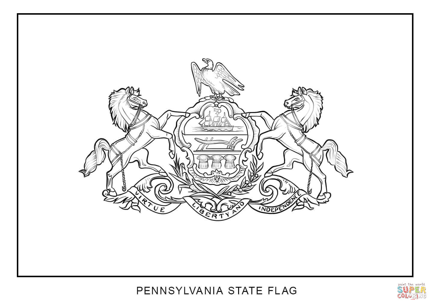 Flag Of Pennsylvania Coloring Page