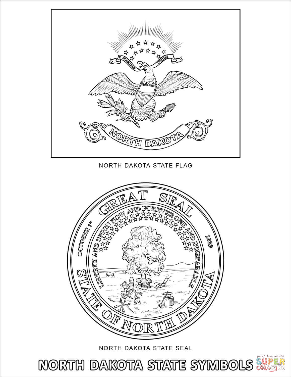 North Dakota State Symbols Coloring Page