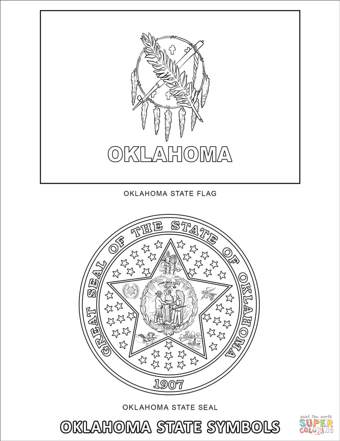 Oklahoma State Symbols Coloring Page