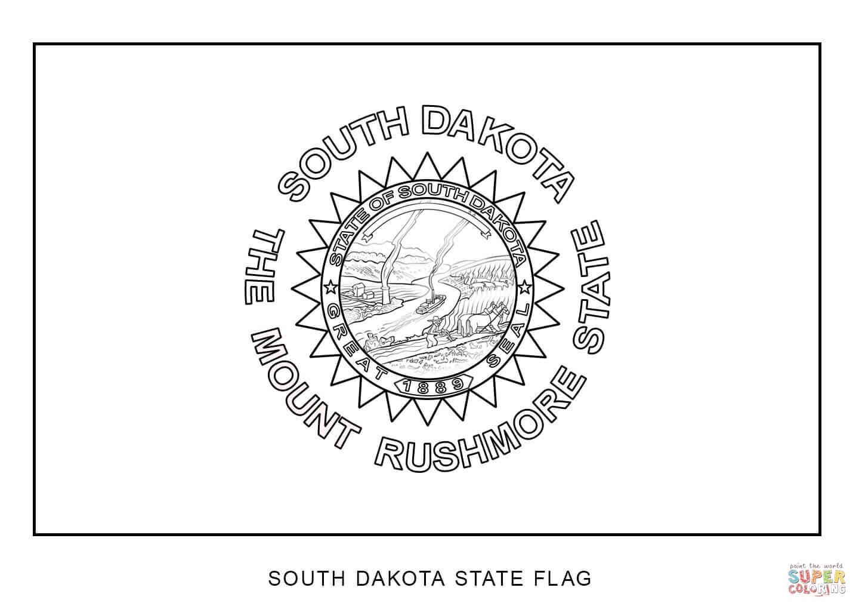 South Dakota State Flag Coloring Page