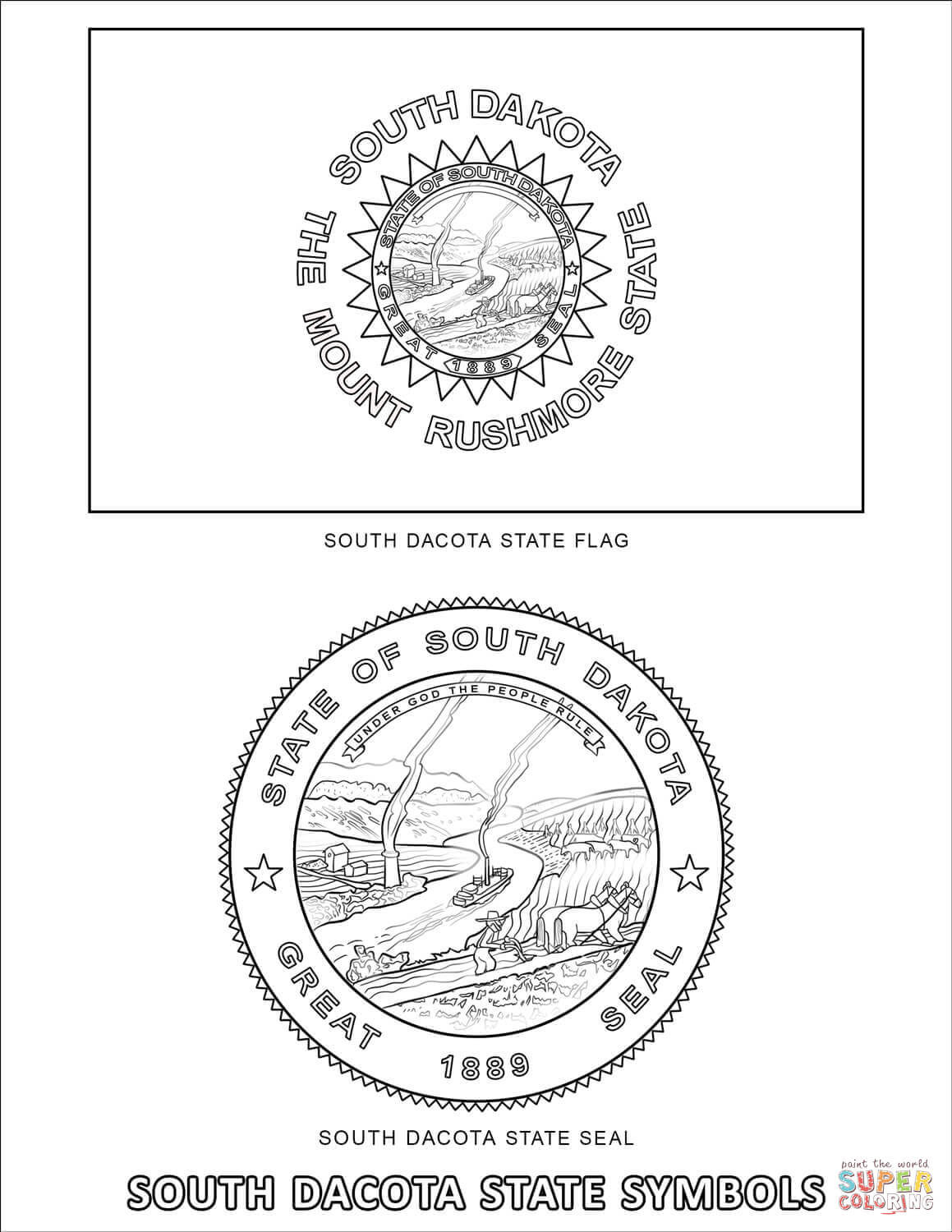South Dakota State Symbols Coloring Page