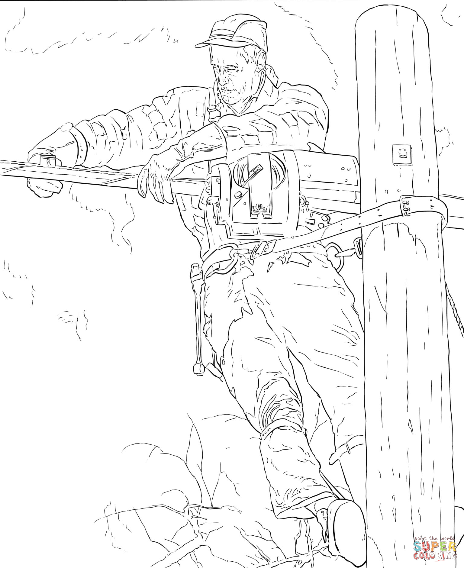 The Lineman By Norman Rockwell Coloring Page