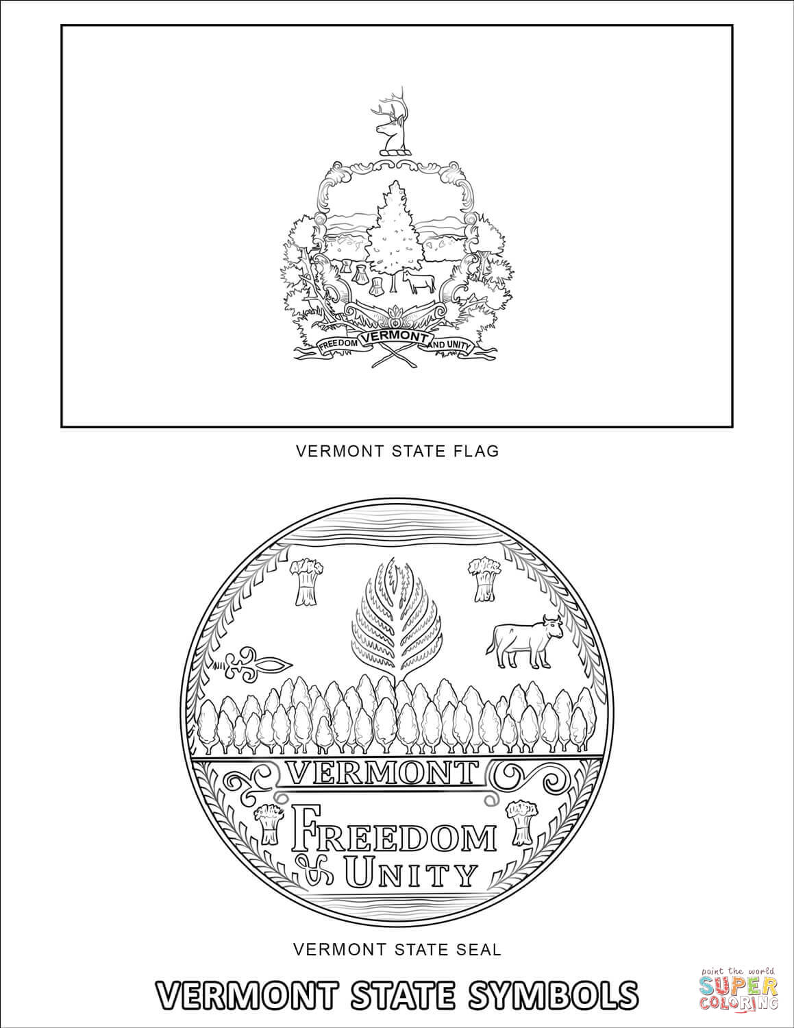 Vermont State Symbols Coloring Page