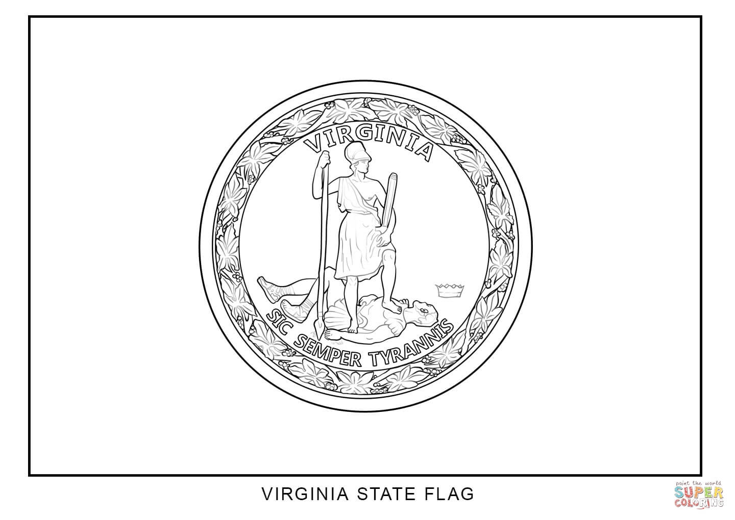 Virginia State Flag Coloring Page