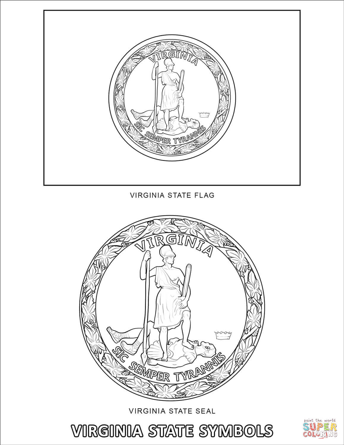 Virginia State Symbols Coloring Page
