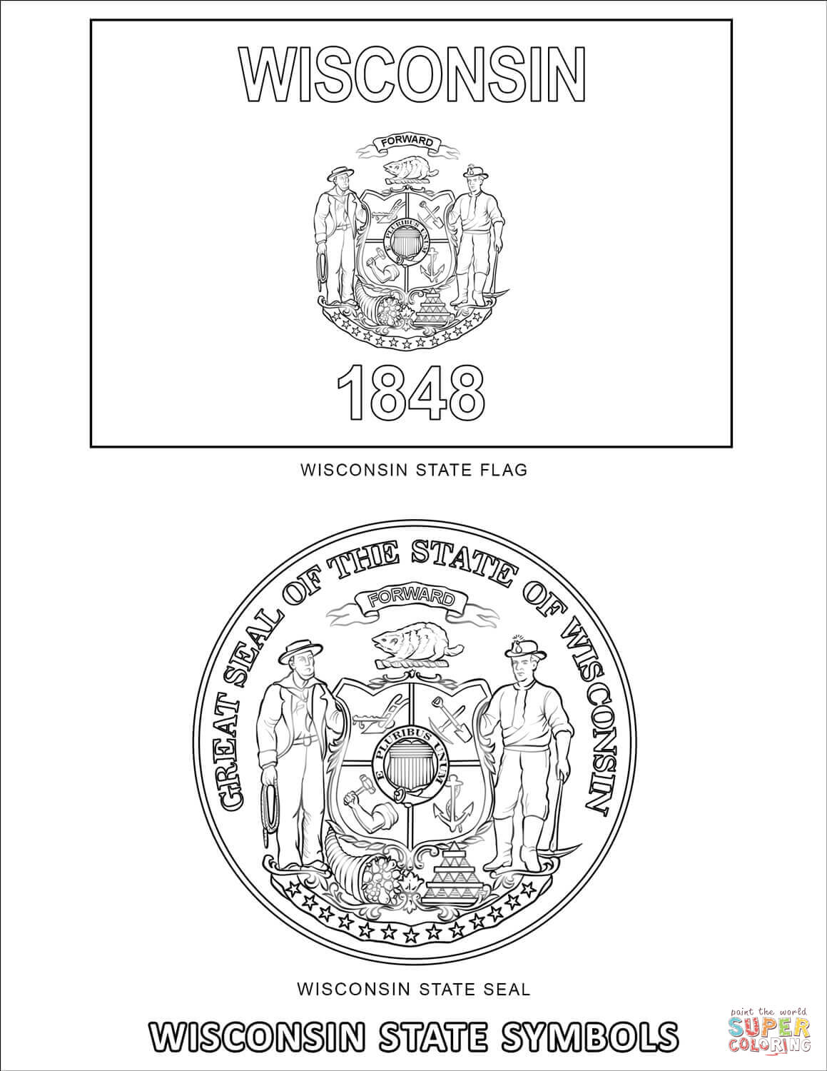 Wisconsin State Symbols Coloring Page