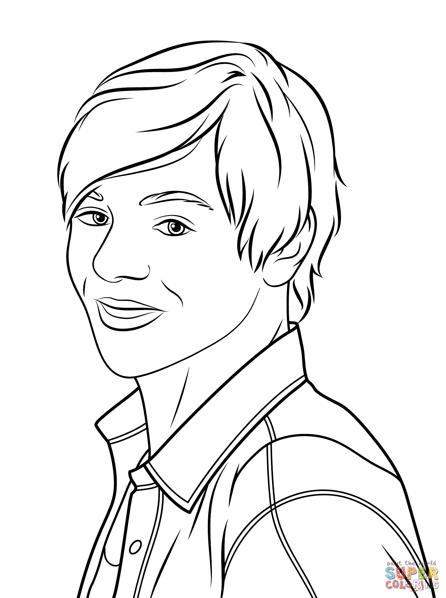 Ross Lynch As Austin Moon Coloring Page Free Printable
