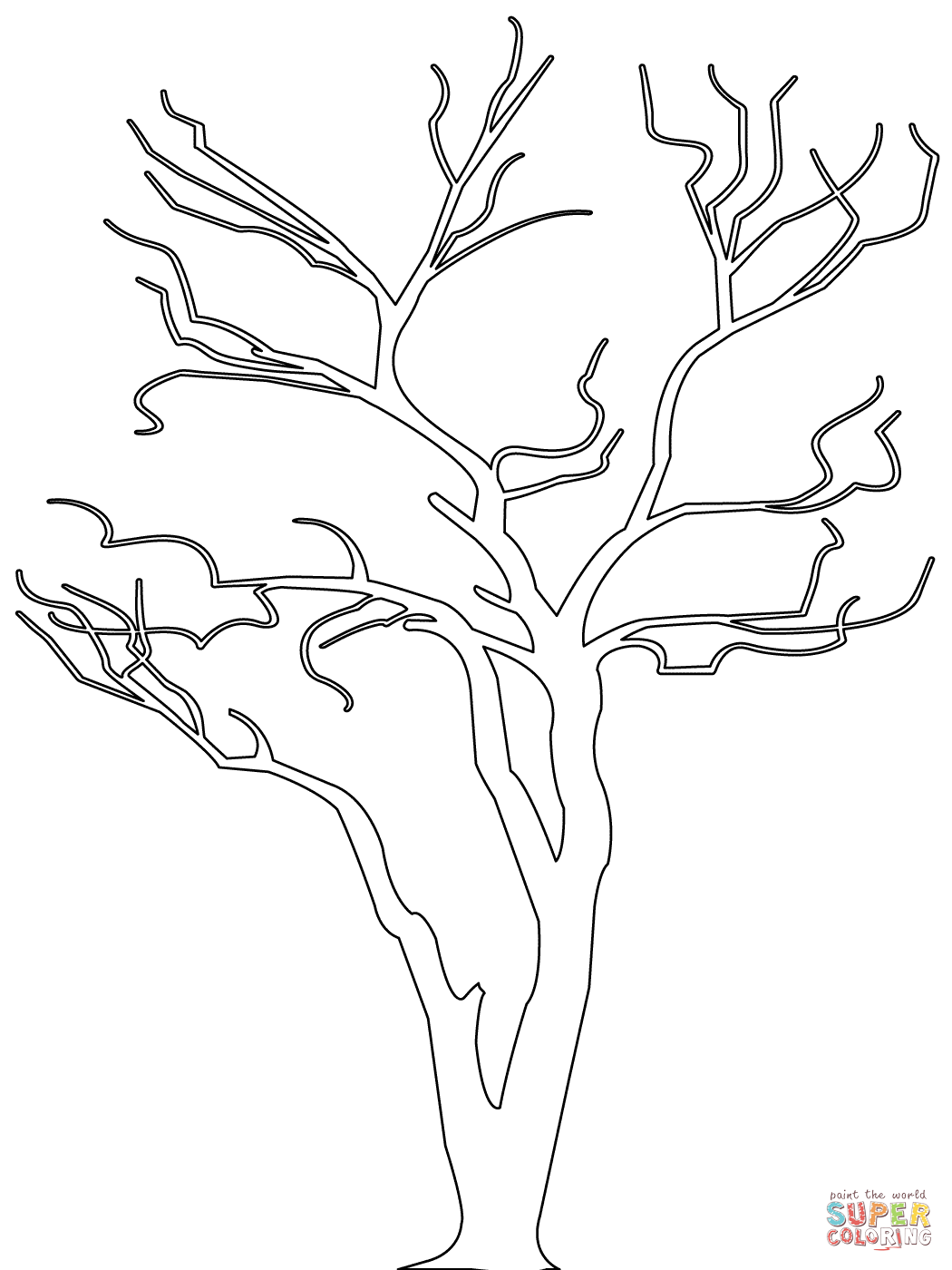 Bare Tree Outline Coloring Page