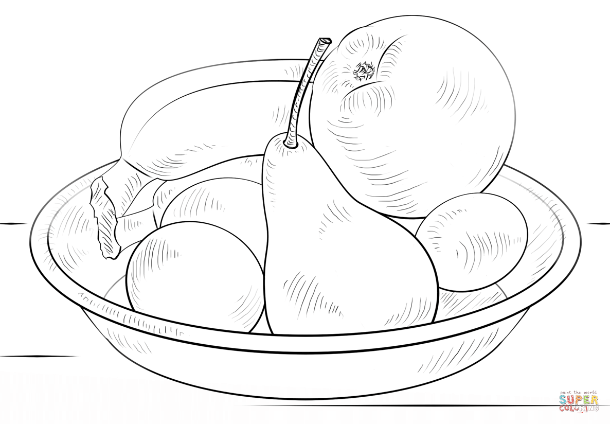 Bowl Of Fruits Coloring Page Free Printable Coloring Pages