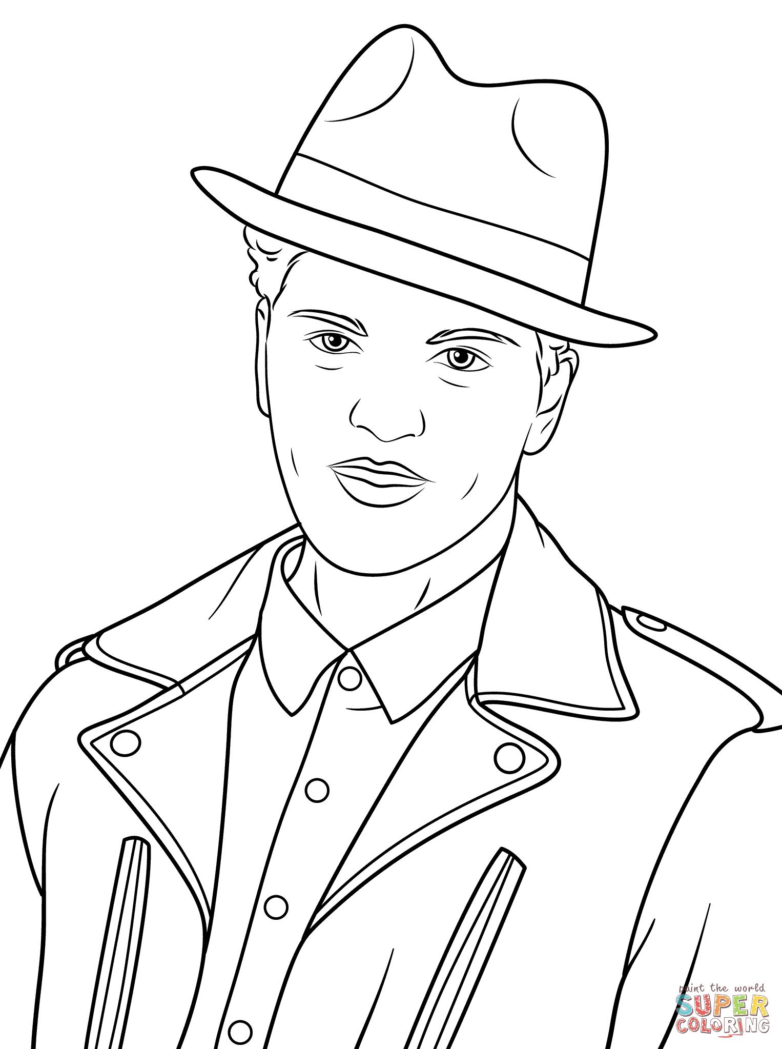 Dibujo De Bruno Mars Para Colorear