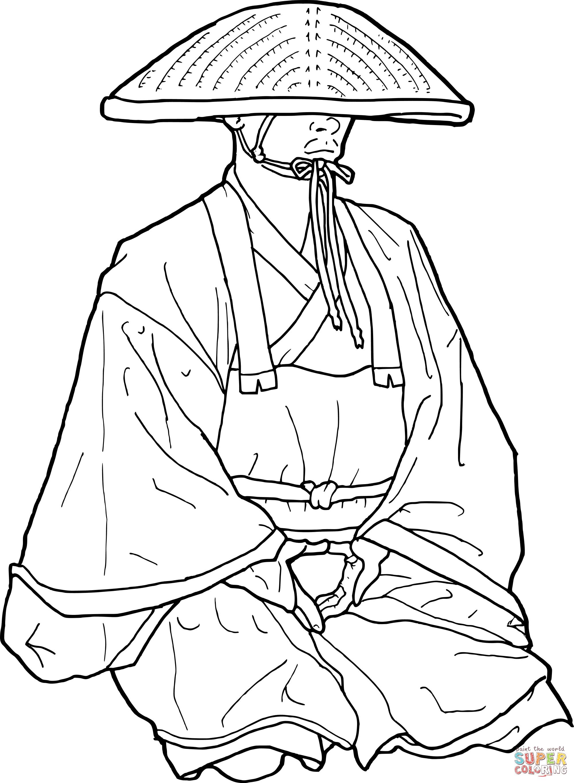 Kolorowanka Japo Ski Mnich Buddysta