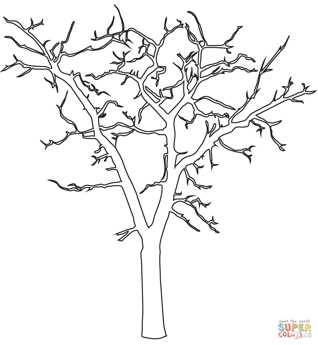 Dead Tree Outline Coloring Page Free Printable Coloring