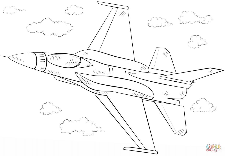 Ausmalbild F 16 Falcon Kampfflieger