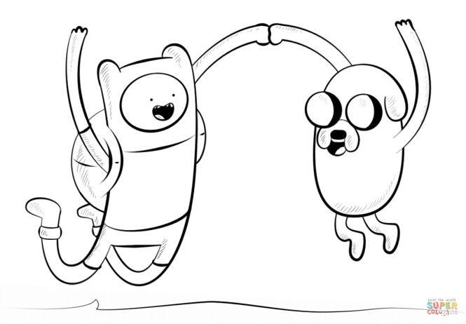 jake and finn coloring page free printable pages - Jake Coloring Pages