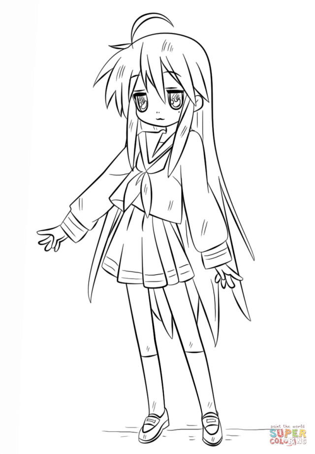 Konata Izumi coloring page  Free Printable Coloring Pages