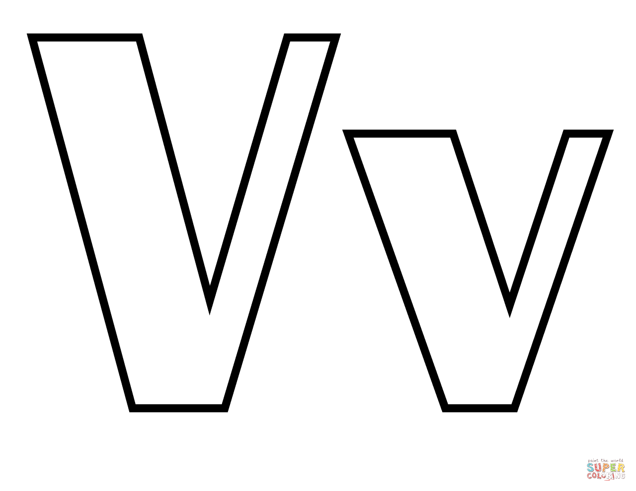 Classic Letter V Coloring Page