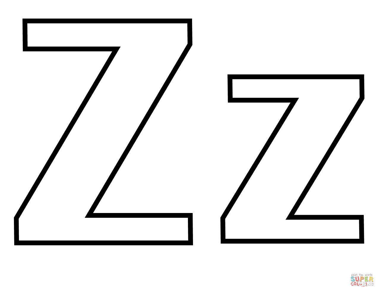 Classic Letter Z Coloring Page
