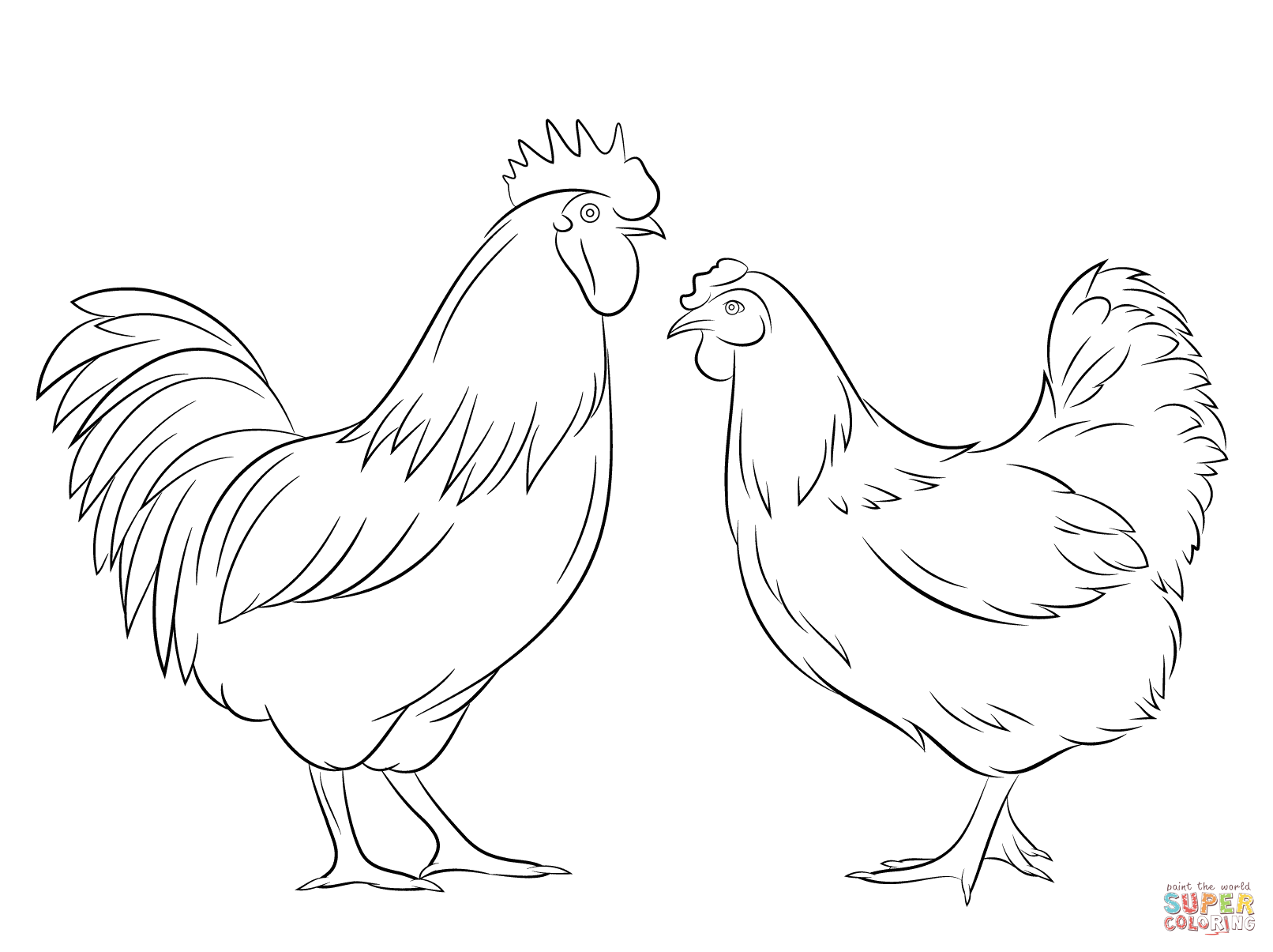 Rooster And Hen Coloring Page