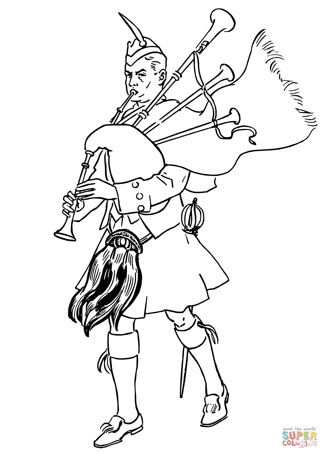 Scottish Bagpiper Coloring Page