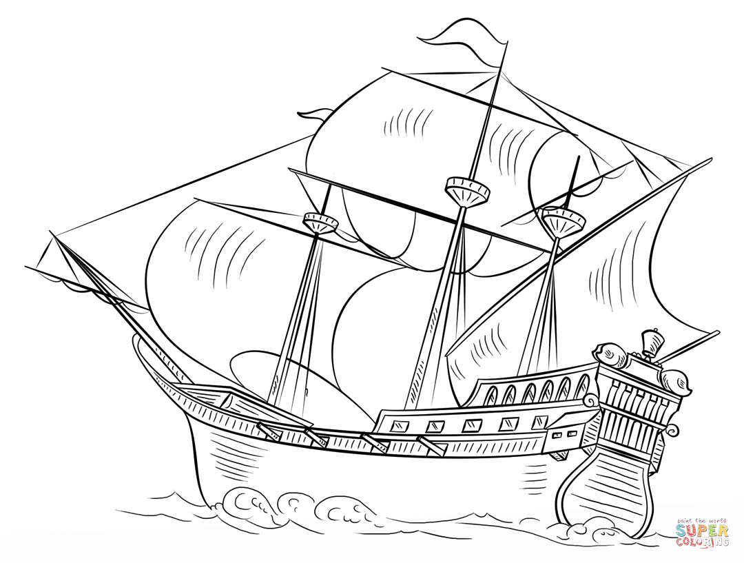 Spanish Galleon Coloring Page