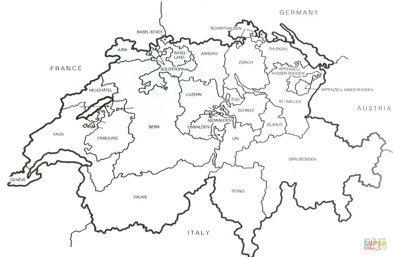 Swiss Outline Map Coloring Page