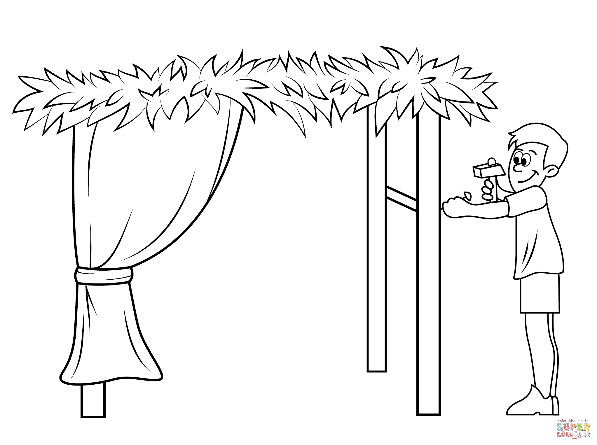 Building A Sukkah For Sukkot Coloring Page