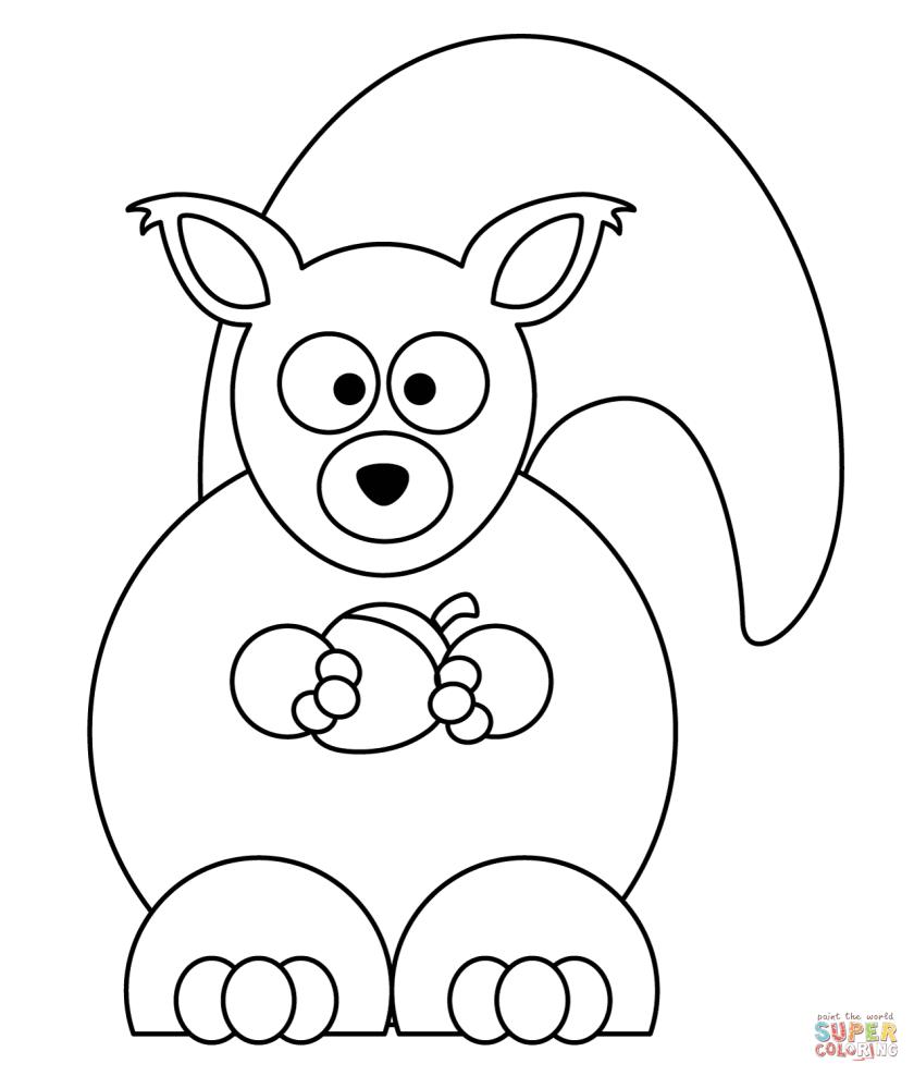 cartoon squirrel  acorn coloring page  free printable