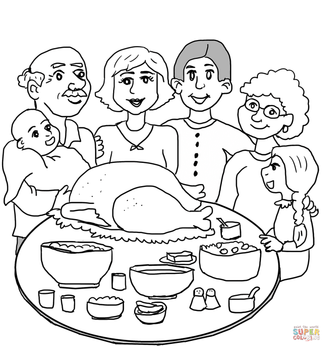 Thanksgiving Family Dinner coloring page  Free Printable Coloring
