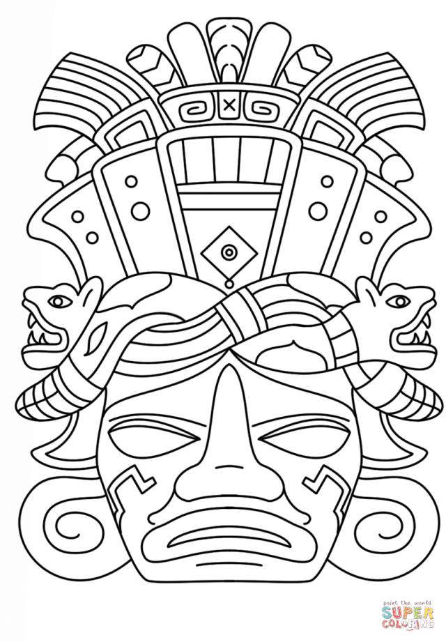 Mayan Mask coloring page  Free Printable Coloring Pages