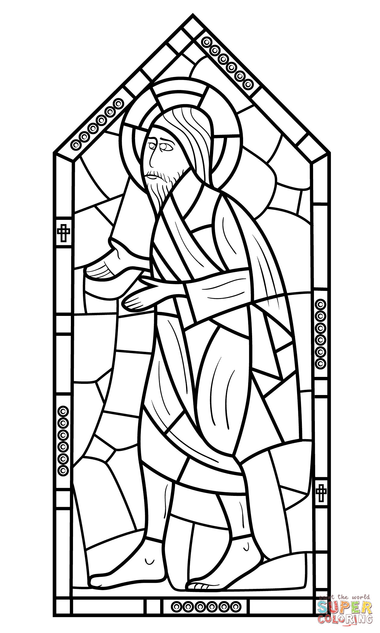 Religious Stained Glass Coloring Page