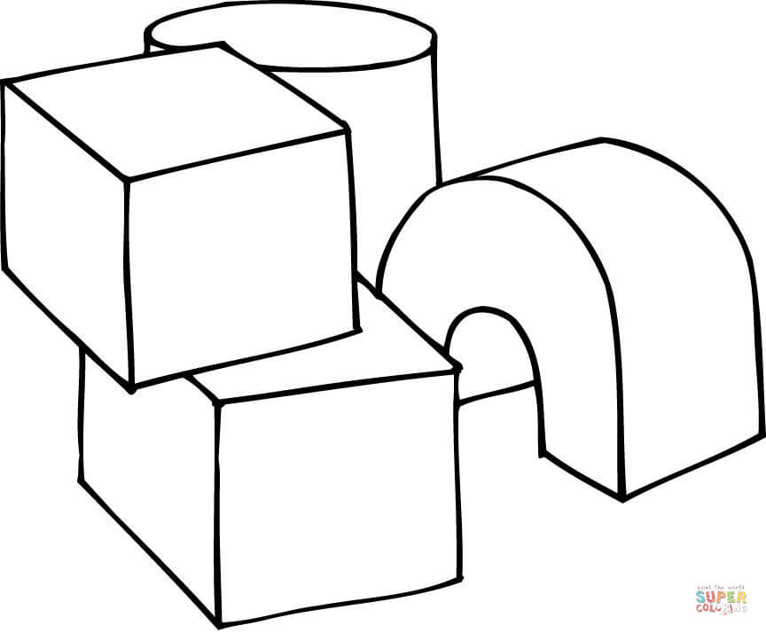 3d Shapes As Play Cubes Coloring Page Free Printable Coloring Pages
