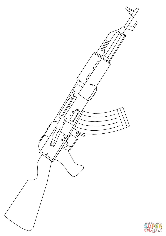 Ausmalbild Ak 47 Sturmgewehr
