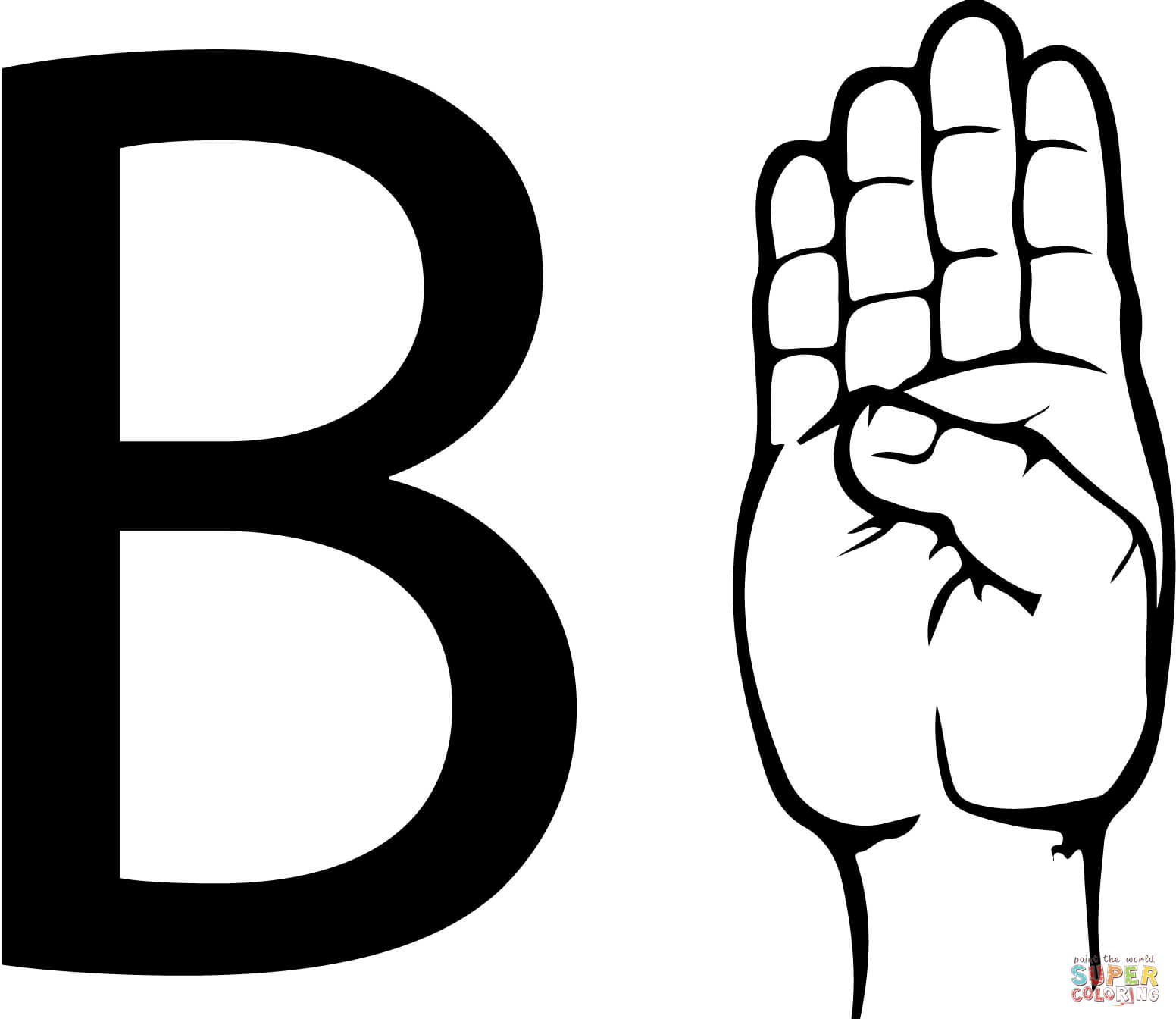 Asl Sign Language Letter B Coloring Page Free Printable Coloring