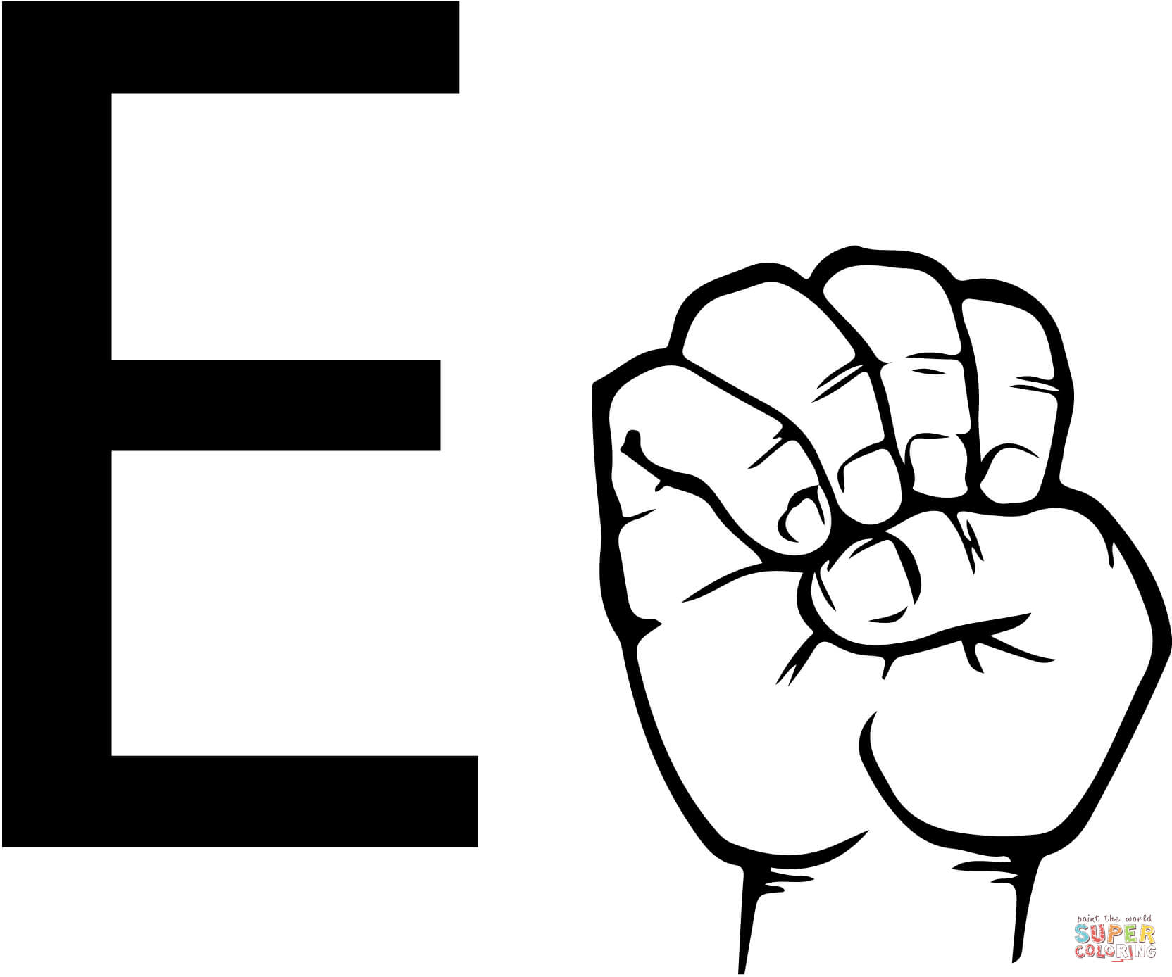 Asl Sign Language Letter E Coloring Page