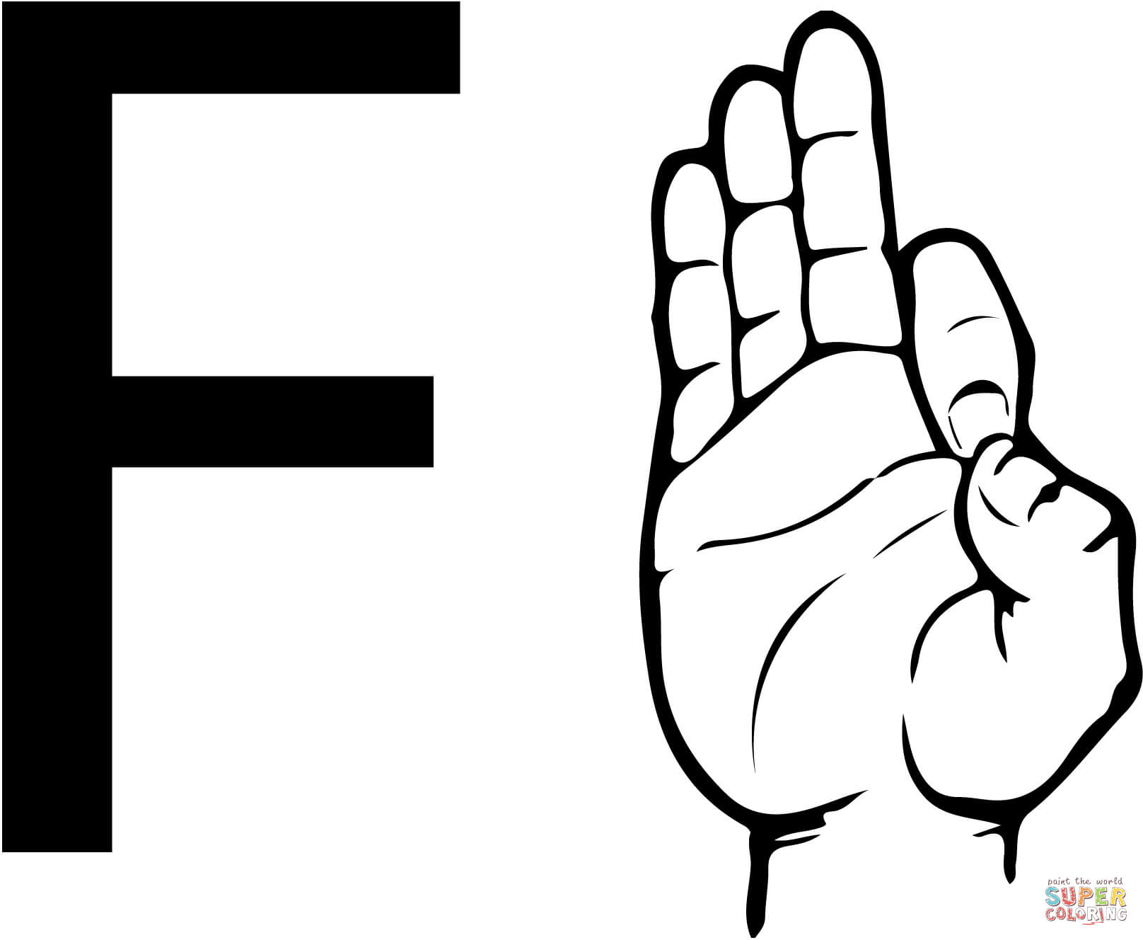 Asl Sign Language Letter F Coloring Page