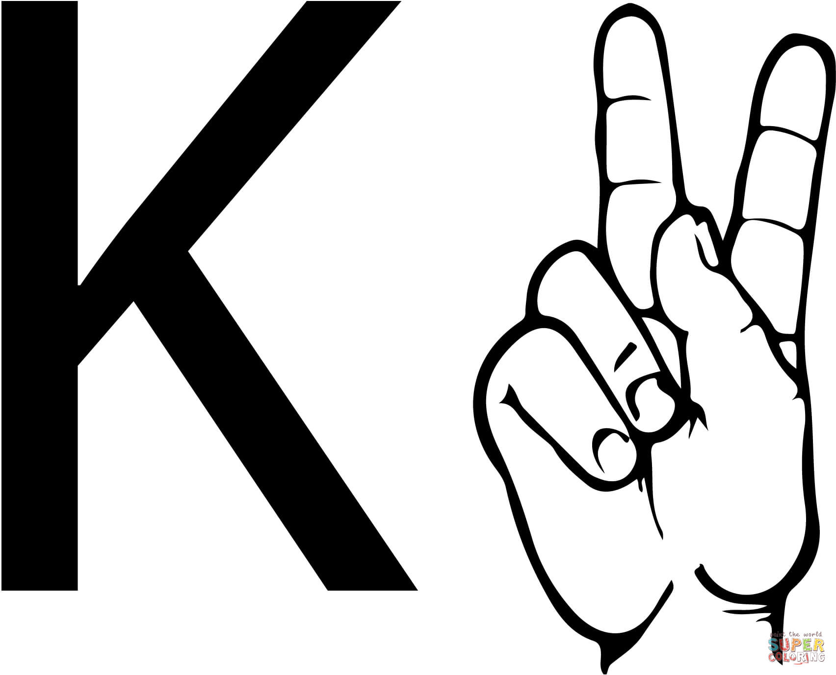 Asl Sign Language Letter K Coloring Page