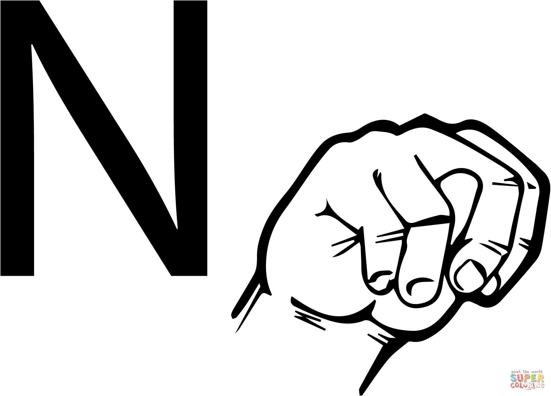 Asl Sign Language Letter N Coloring Page