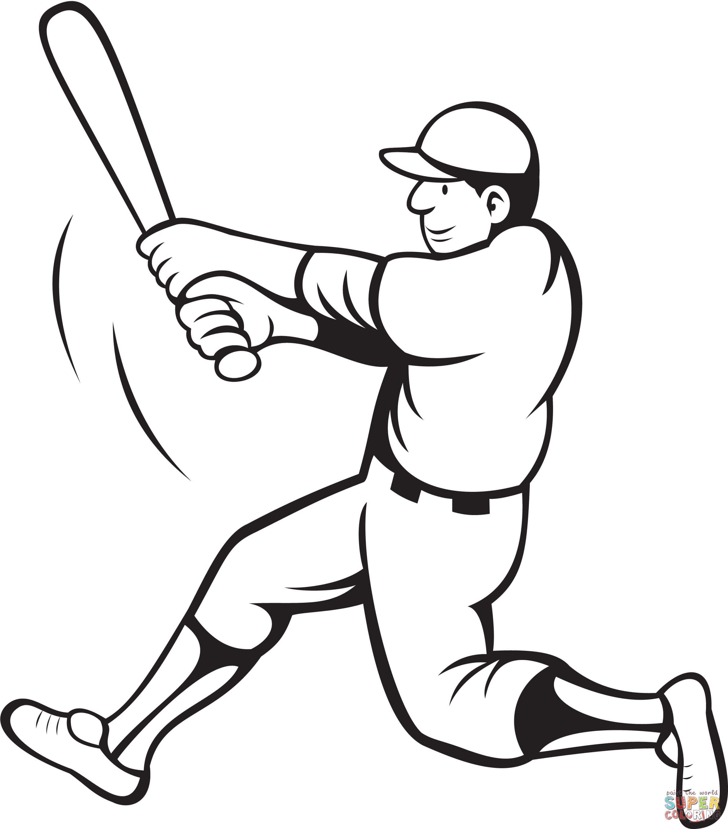Baseball Batter Swinging Coloring Page