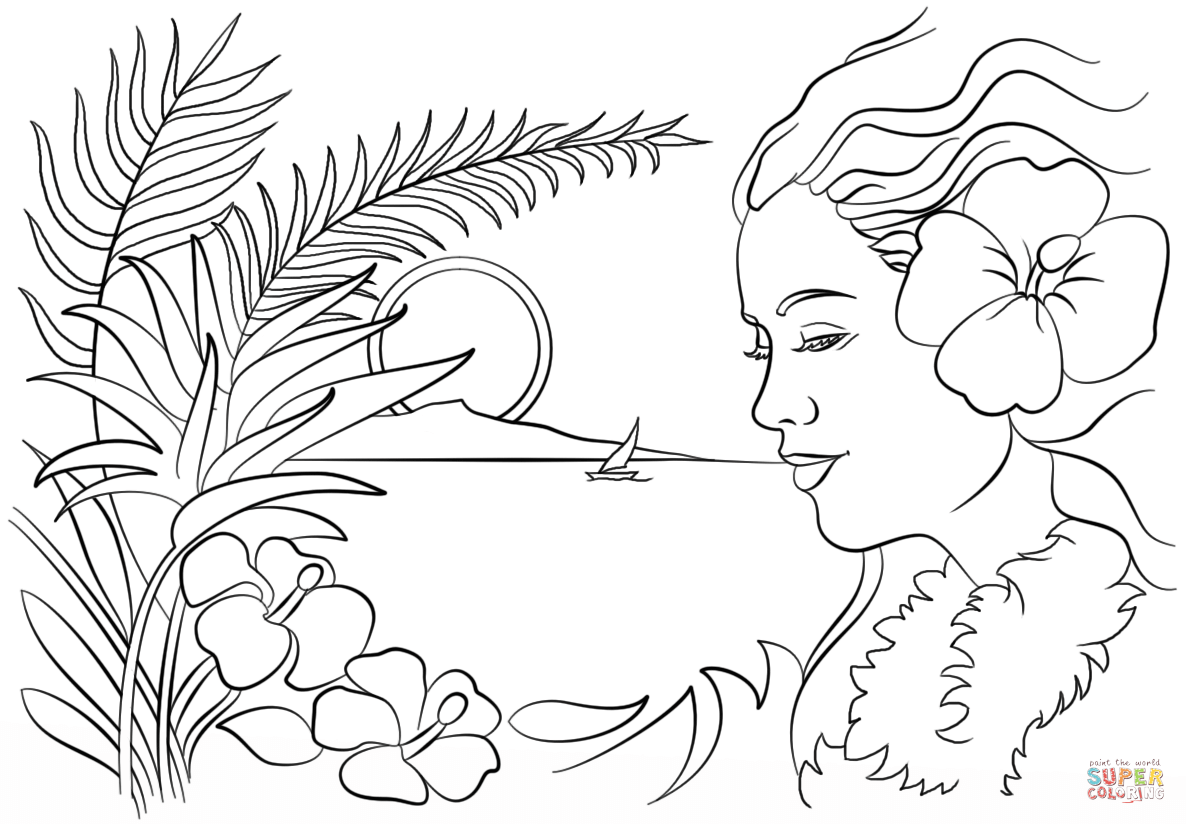Beautiful Hawaii Coloring Page