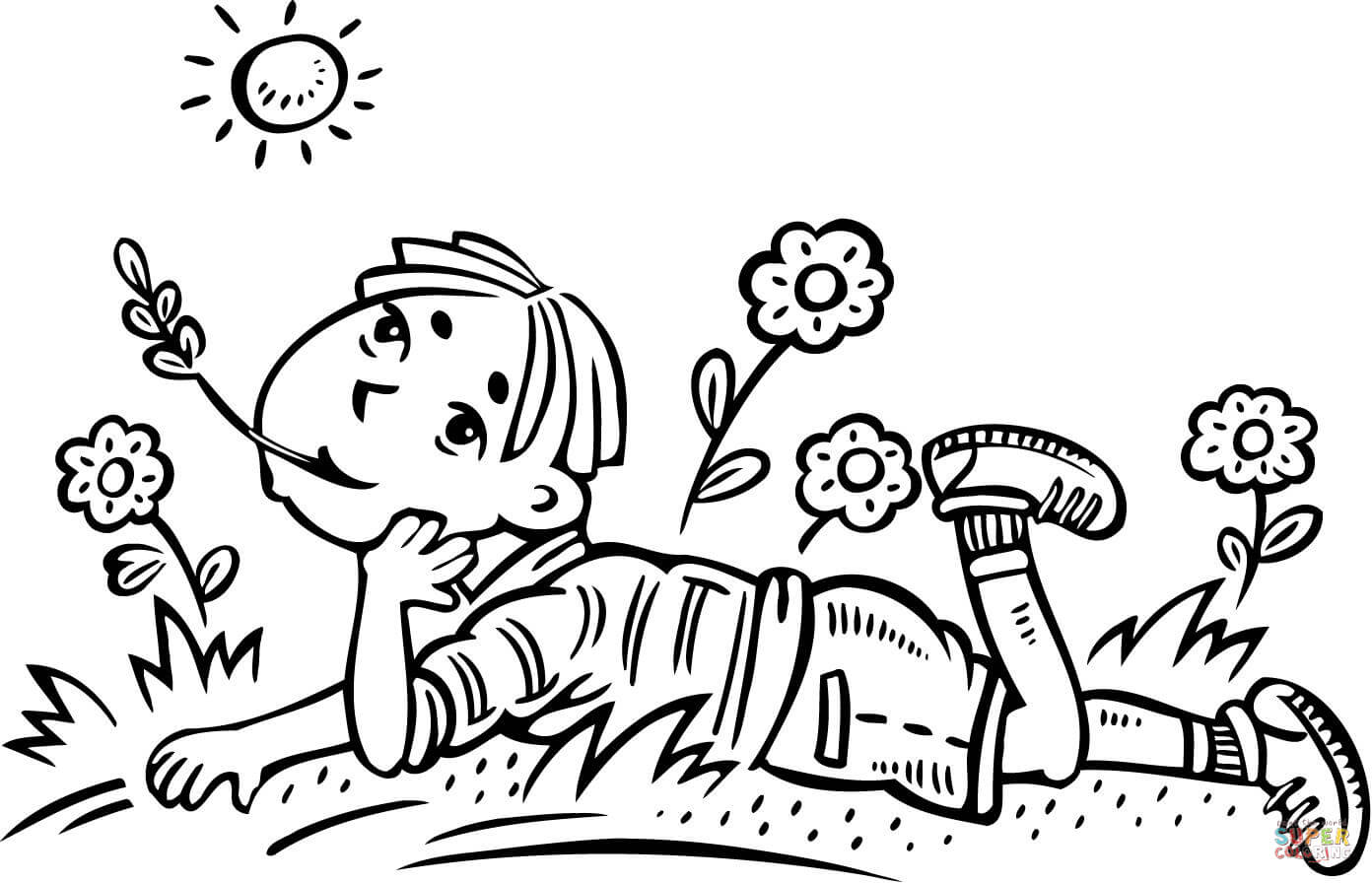 Boy Daydreaming In A Field Coloring Page