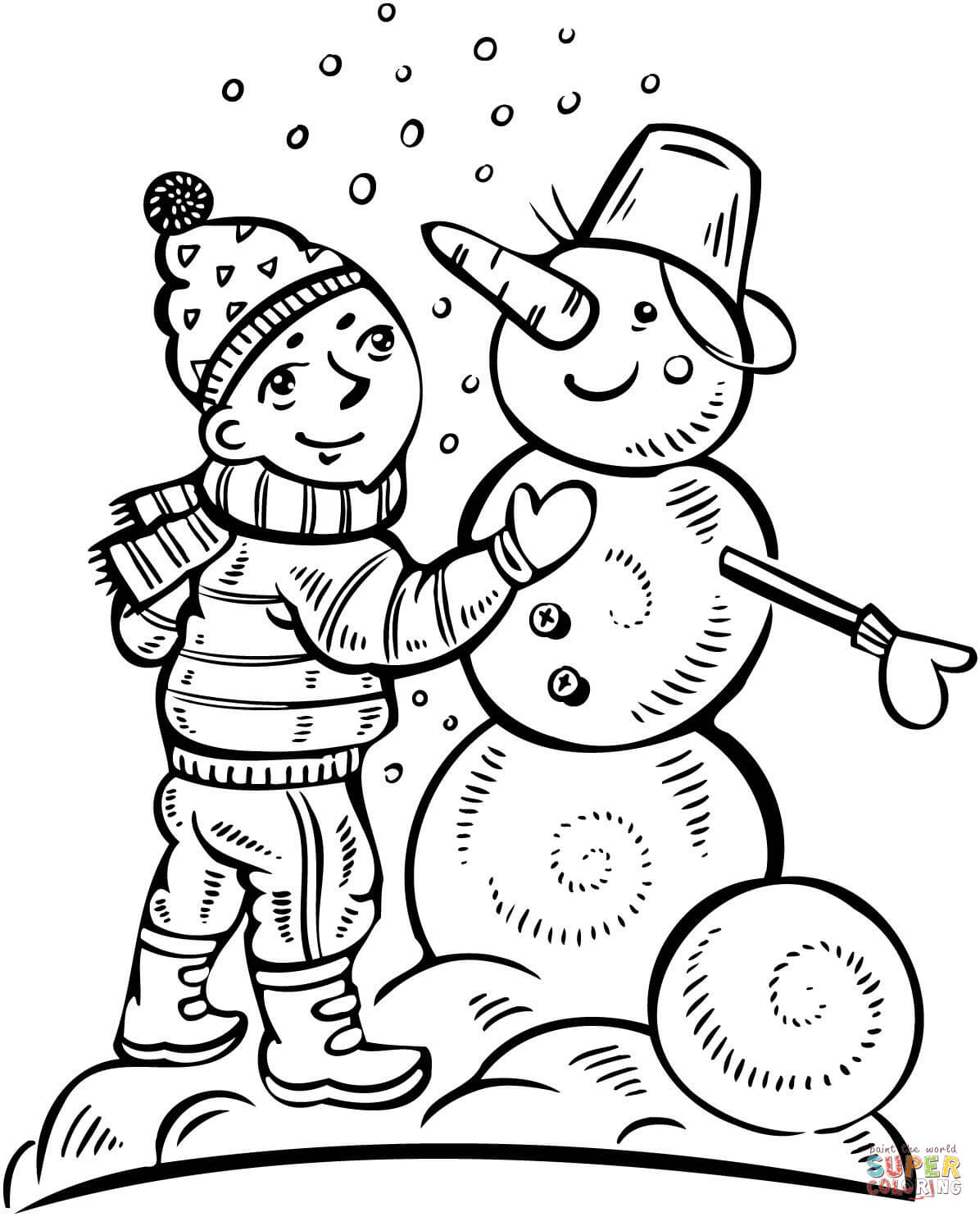 Boy Making A Snowman Coloring Page