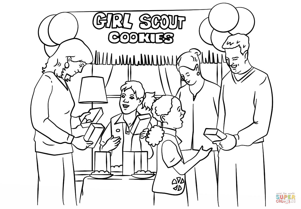 Brownie Girl Scouts Selling Cookies Coloring Page
