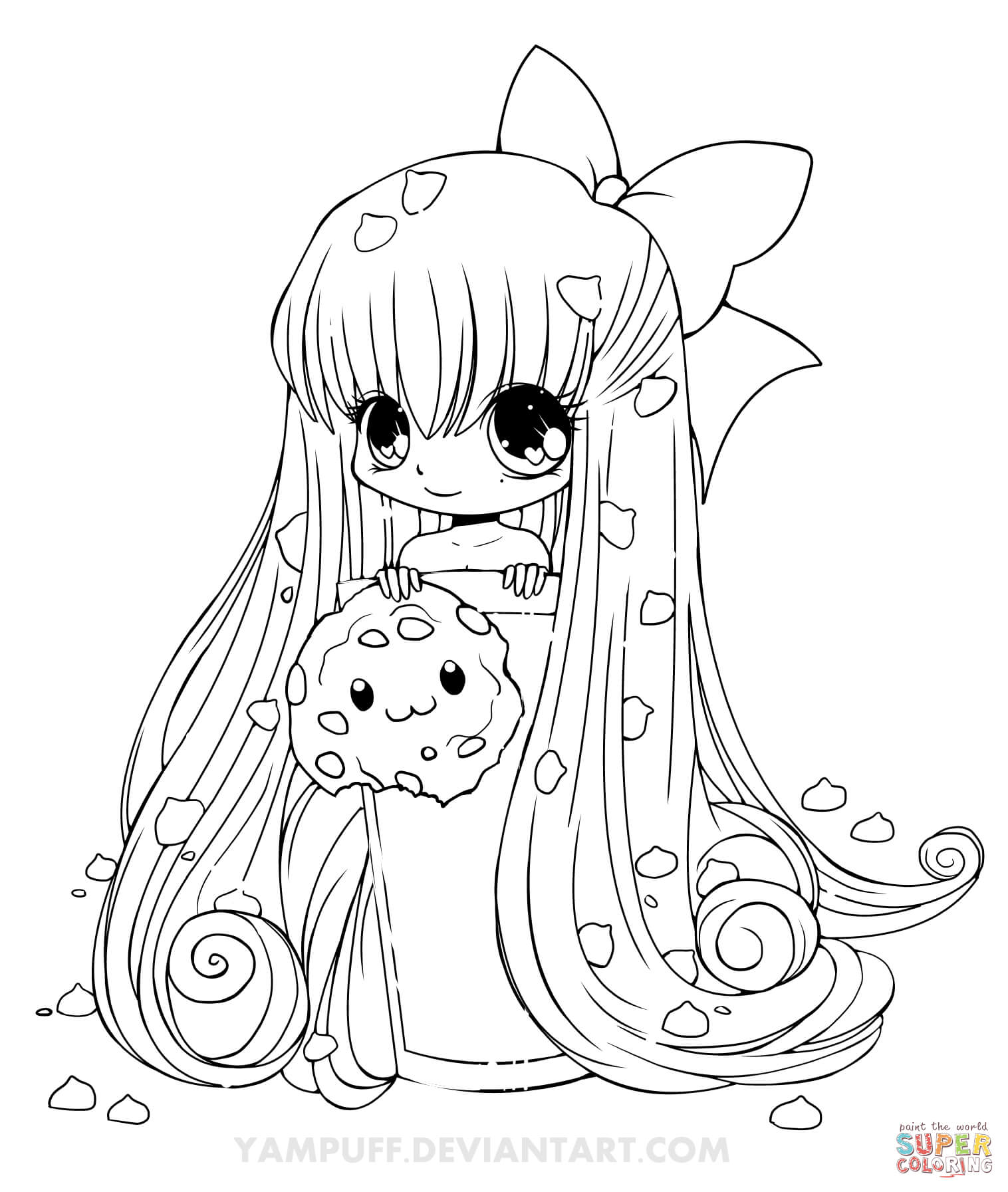 Chibi Cupcake Girl Coloring Page Free Printable Coloring Pages