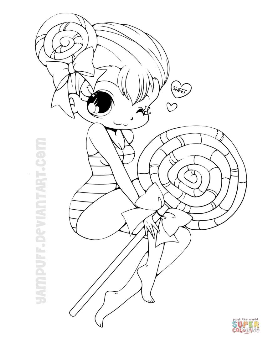 chibi lollipop girl coloring page  free printable
