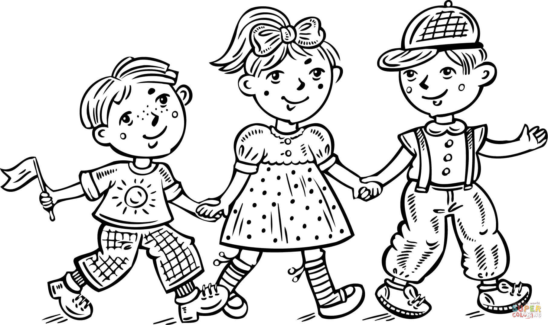 Children Boys And A Girl Celebrating Coloring Page