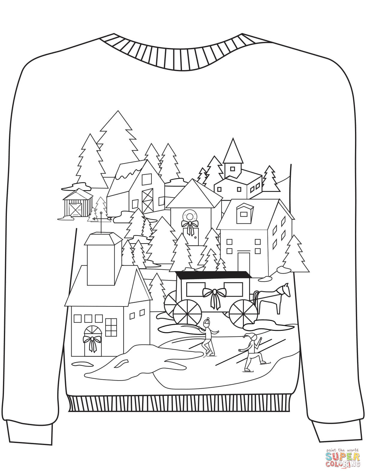 Christmas Ugly Sweater With A Village Motif Coloring Page Free