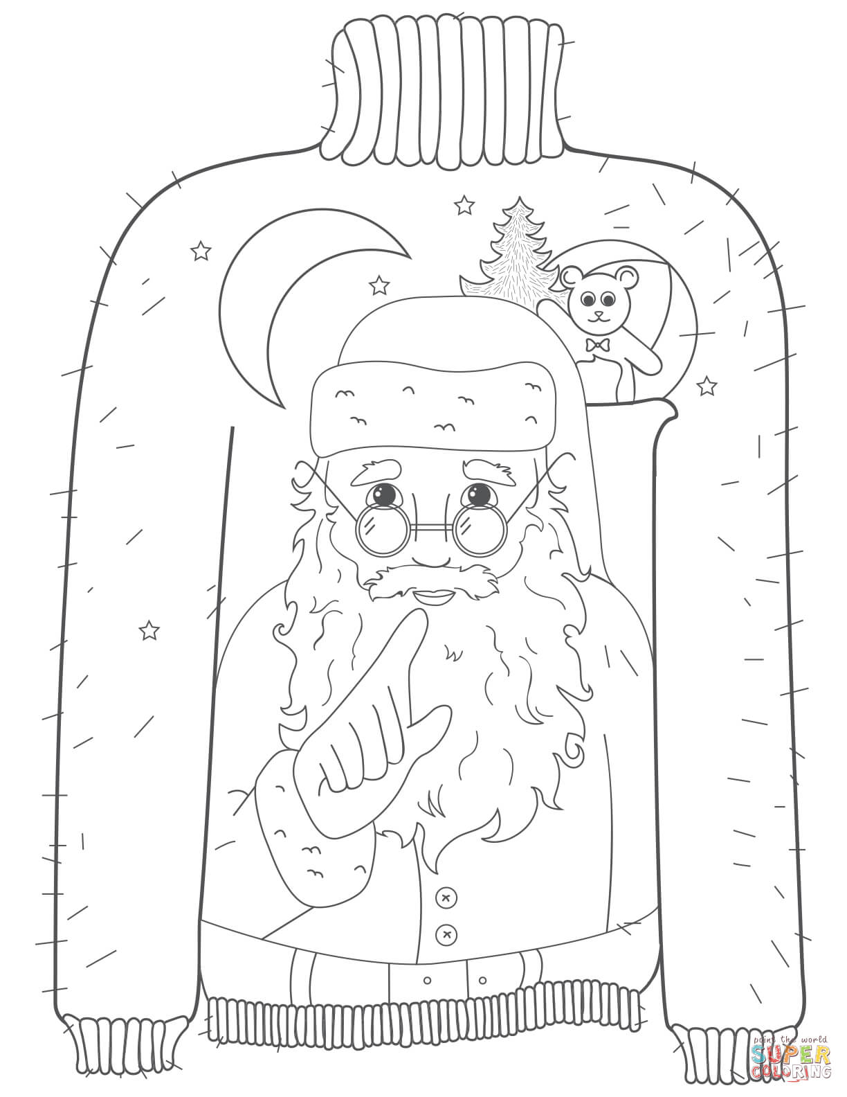 Christmas Ugly Sweater With Whispering Santa Motif