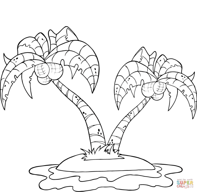 Coconut Palm Trees On Island