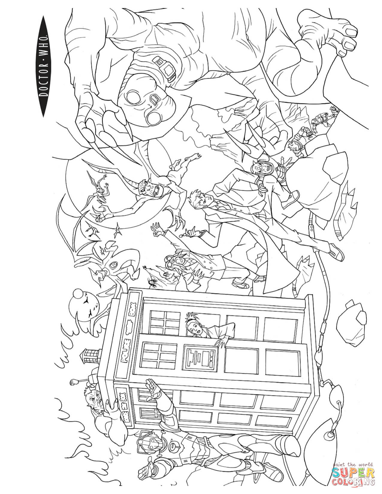 Action Scene From Doctor Who Coloring Page