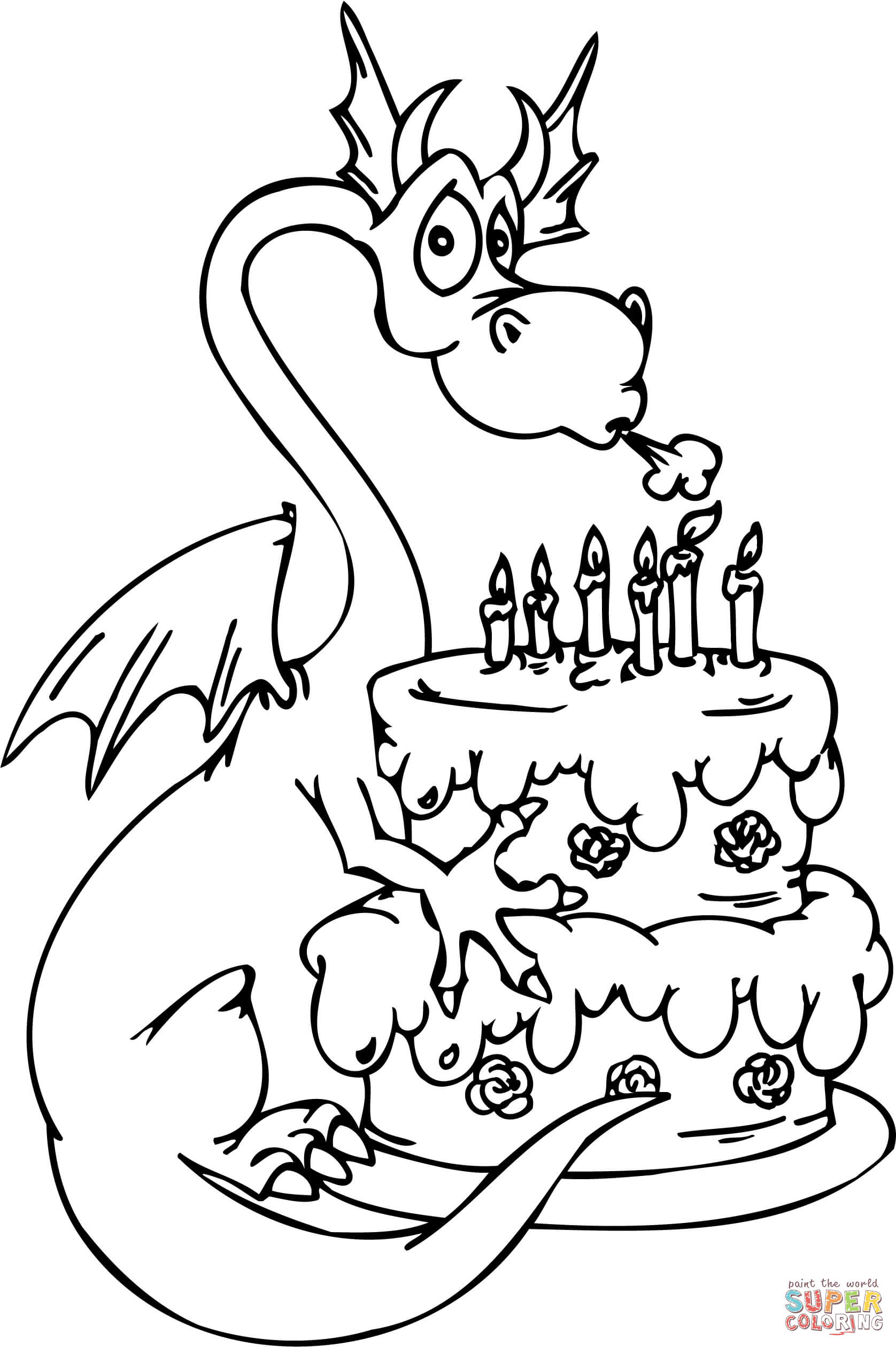 Dragon With Happy Birthday Cake Coloring Page Free Printable